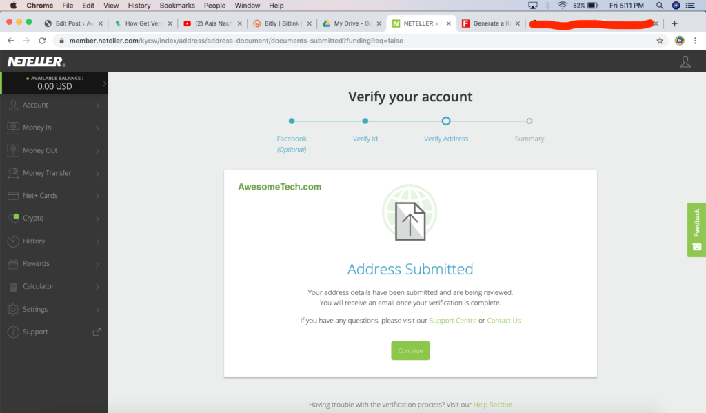Neteller Address Submitted