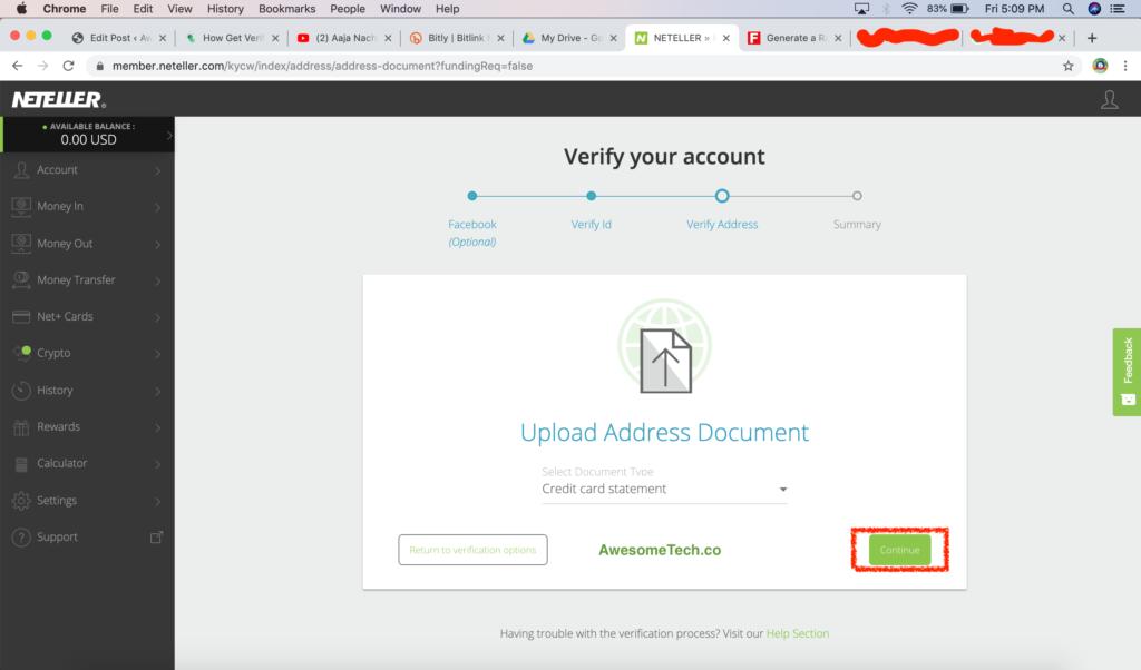 Neteller Address Verification 2020