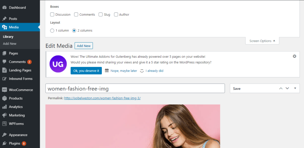 screen options comments in wordpress