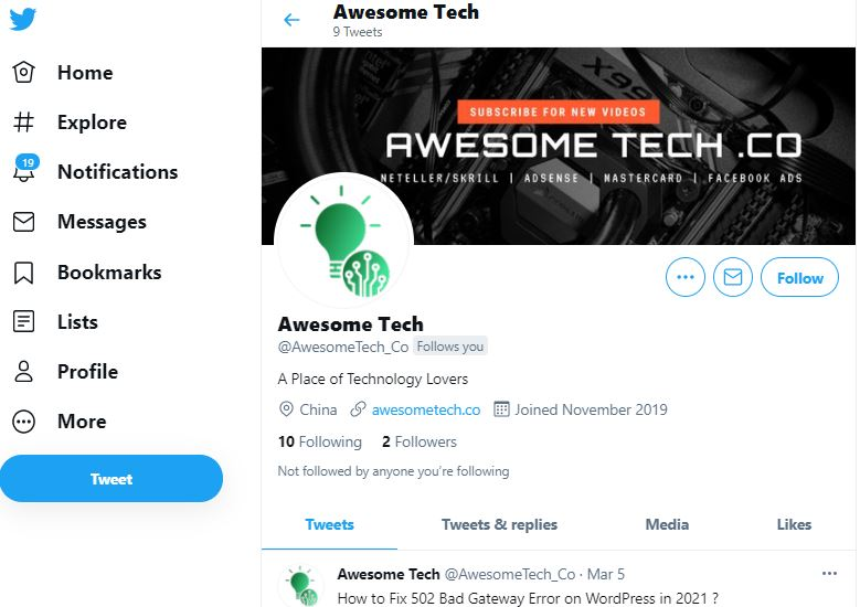 Awesome tech twitter profile